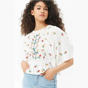 Tops - Floral Embroidered Peplum Bat Sleeve Top
